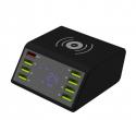 Ładowarka - stacja ładująca 8x USB + ładowanie indukcyjne