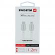 71526203 - DATA CABLE SWISSTEN TEXTILE USB-C / LIGHTNING MFi 1.2 M SILVER
