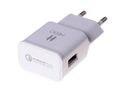- Adapter ładowarka sieciowa USB HEDO Qualcomm Quick Charge 3.0 2A - biała (oryginalna)