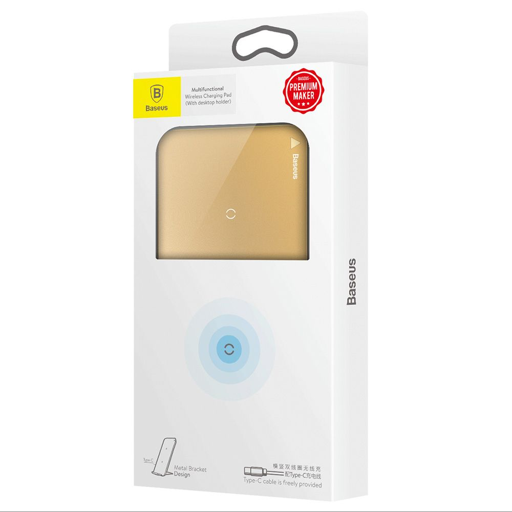 Fast Qi Wireless Charger Baseus Stand Gold Desktop