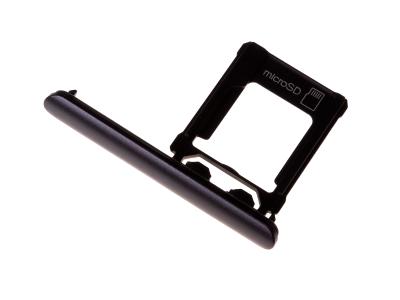1309-6691 - Szufladka karty Sony G8343 Xperia XZ1/ G8341 Xperia XZ1 Dual SIM - czarna (oryginalna)
