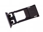 U50042381, 1302-4830 - Szufladka karty Sony F5121 Xperia X - czarna (oryginalna)