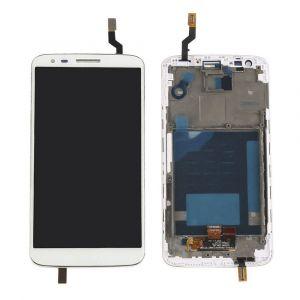 - Wyświetlacz LCD + ekran dotykowy LG G2 D800 biały + ramka